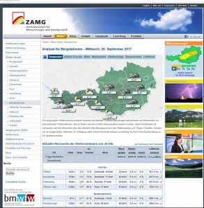 Bergwetter und Bergstationen in Österreich