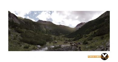 Bergpanorame Fotografie auf dem Weg zur ansbacher Hütte im Lechtal Lechtaler Alpen Landschaftsfotografie1 390x205 - Die Kühe im Tal